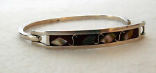 Vintage Fashion Inlaid Shell leaves red Silver tone  Cuff Bracelet