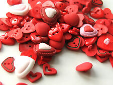 15 x assorted heart shaped/themed buttons & flatback shapes for sewing & crafts