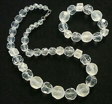 Vintage Set Necklace and Bracelet Clear and Frosted Beads VGC N
