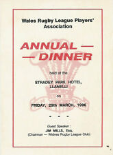 Welsh Rugby League Players Association Annual Dinner Menu Card 1996