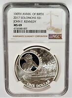 2017 1 oz Silver $1 100th Anniv of Birth J.F. Kennedy Solomon Islands NGC MS69