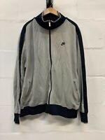Nike Sportswear Mens Black And Beige Grey Full Zip Athletic Track Jacket 2XL XXL