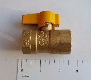 """1) 3/4"""" IPS BRASS GAS BALL VALVE, CSA APPROVED 1/4 TURN - PROPANE, NATURAL GAS"""