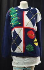 Accordeon Ugly Tacky Christmas Sweater pullover Crewneck jumper top SZ L VTG NEW