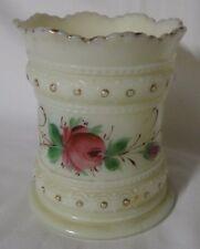 Heisey Custard Glass Spooner Ring Band Rose Decoration