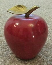 Vintage Marble Stone Red Apple With Brass Leaf Stem Paperweight