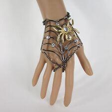 New Women Black Metal Hand Chains Slave Ring Fashion Bracelet Gold Spider Net