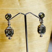 VTG Estate Large Crystal Rhinestone Earrings Rhodium Smokey Lantern Dangle