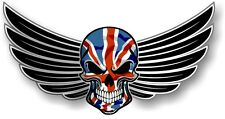 WINGED Biker SKULL wings & Union Jack British GB Flag car bike sticker Decal