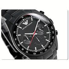 NWT Emporio Armani Men's Watch Black SS Bracelet Tachymeter SPORTIVO AR6094 $445