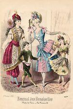 """147/ GRAVURE DE MODE """"  JOURNAL des DEMOISELLES """" 1887 SUPERBES COULEURS !"""