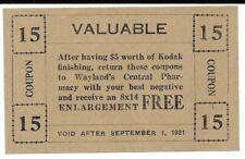 Exp. 1921 Kodak Photo Finishing Coupon for Free Enlargement - Wayland's Central