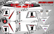 suzuki lt50 quad graphics stickers decals name & number lt 50 mx laminate white