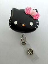 "Black Hello Kitty 45mm / 1.9"" Retractable Reel ID Badge Holder_Pink Flower Bow"
