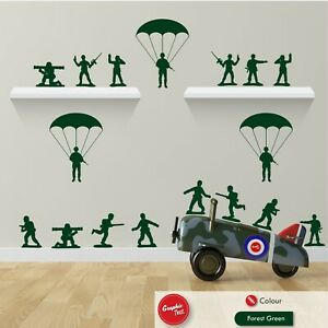 Army Toy Men Wall Stickers Skirting Board Vinyl Boys Bedroom Story Decals x17