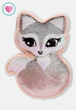 "new JUSTICE Girls Fox Sequin Flip Pillow Accent plush 14"" valentines gift"