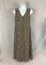 Ann Taylor Loft Womens Dress V Neck Brown Tan Damask Print Size 4