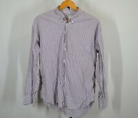 Vintage Benetton Medium Long Sleeve Button Front Shirt Purple White Stripes