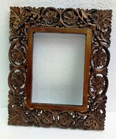 Wooden Photo Frame Old Unique Hand Carved Picture Frame Collectible Art