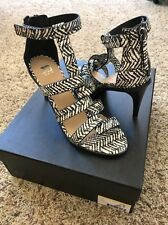 Joes Jeans Black And White Striped Strappy Heels Size 6