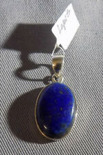Sterling Silver Handmade LAPIS Inlay Oval Pendant NWT