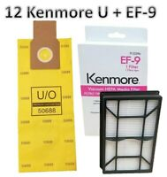12 Kenmore Upright Vacuum Cleaner Bags Type U O 50688 50690 5068 + EF-9 31150