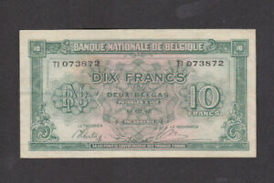 10 FRANCS VERY FINE BANKNOTE FROM GERMAN OCCUPIED BELGIUM 1943 PICK-122
