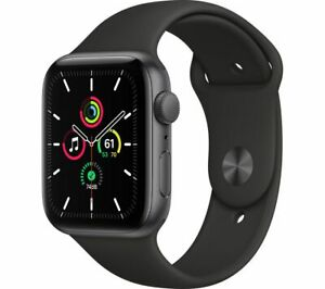 APPLE Watch SE Space Grey Aluminium with Black Sports Band 44mm - Currys