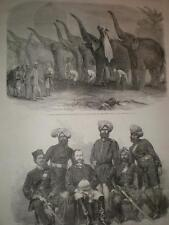 New police Force Bengal and elephant squad salute at Dinapore 1864 prints India