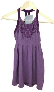 NEW Athleta Womens Size L Floral Purple Seamless Tank Top Babydoll Sleeveless