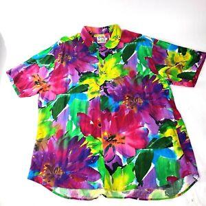 VTG Jams World Short Sleeve Colorful Rayon Hawaiian Aloha Shirt Surf L Camp USA