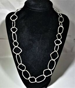 22 inch solid Sterling Silver  Necklace with mixed Rings