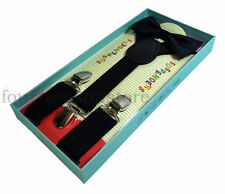 Suspenders And Bow Tie Matching Kids Toddler Black Boxed Gift Set