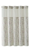 New Pearl/taupe Cherry Blossom Embroidery shower curtain with liner hookless