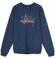 STUSSY INTERNATIONAL CREW SWEATSHIRT 1914482 FELPA BLU UOMO LOGO