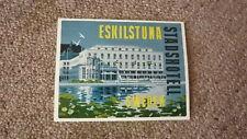 OLD 1950s HOTEL LUGGAGE LABEL, STADSHOTELL ESKILSTUNA SWEDEN