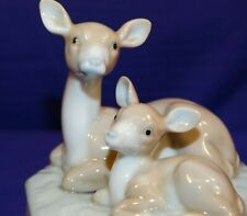 Vintage Otagiri Music Box Momma Deer & Baby Plays Talk To The Animals