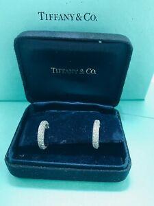 TIFFANY & CO  PLATINUM  ETOILLE   DIAMOND  HOOP EARRINGS , 2.90CTS