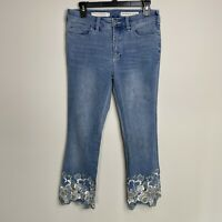 Pilcro & The Letterpress Womens Sz 28 High Rise Bootcut Crop Jeans Embroidered