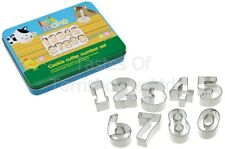Kitchen Craft Set of Number Shaped Biscuit, Pastry Cookie Cutters & Storage Tin