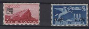 SAN MARINO, REPUBBLICA DI SAN MARINO, STAMPS, 1957, SASSONE 23 - 24 E **