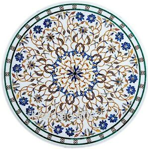 Marble Restaurant Table Top Round Dining table with Peitra Dura Art 36 Inches
