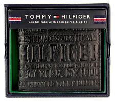 NEW TOMMY HILFIGER MEN'S PREMIUM LEATHER COIN WALLET YEN BILLFOLD BLACK 5647/01