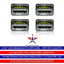 4x LED DRL Sealed Beam HEADLIGHTS Peterbilt Rectangular Headlights 379 378 357