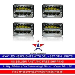 4x LED DRL Sealed Beam HEADLIGHTS Peterbilt Rectangular Headlights 379 378 357