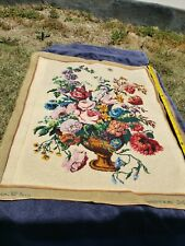 Vintage Embroidery Needlepoint Tapestries Antique Art Deco Europe Flowers Pot