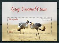 Gambia 2018 MNH Grey Crowned Crane 1v S/S Cranes Birds Stamps