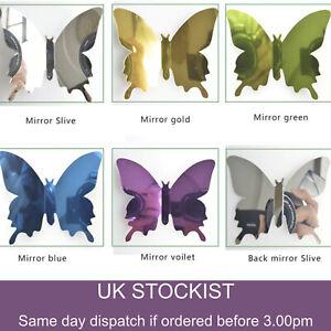 12 x 3D Butterfly Wall Stickers Mirrored Mirror Room Sticker Bedroom Girls