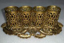 Vintage Lipstick Holder Gold Filigree Metal 4 tubes Stylebuilt Frame Co