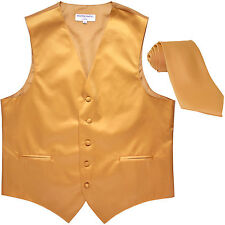 New Men's Formal Tuxedo Vest Waistcoat_Necktie gold wedding party prom